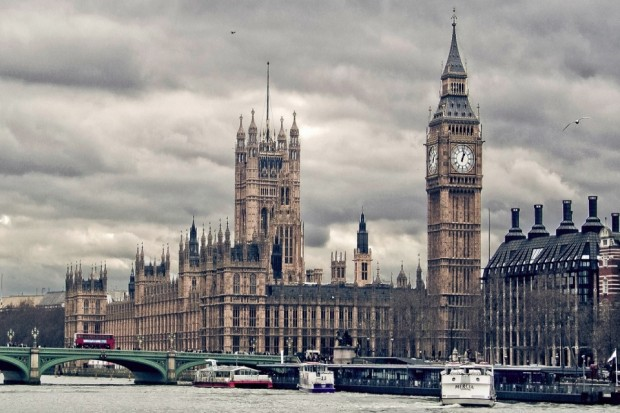 Image of the Houses of Parliament from across the Thames on a cloudy day