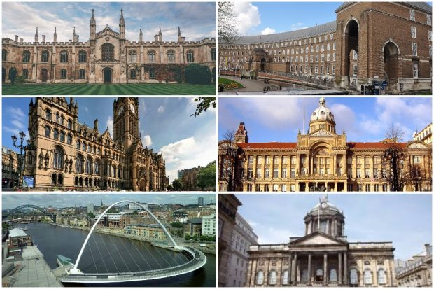 Six images of different historic town hall buildings and bridges around the UK