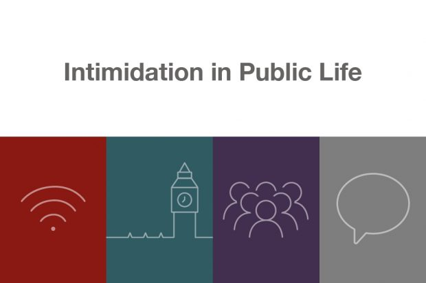 "Graphic with symbols of wifi, big ben, people, and a speech bubble below the words ""intimidation in public life"""
