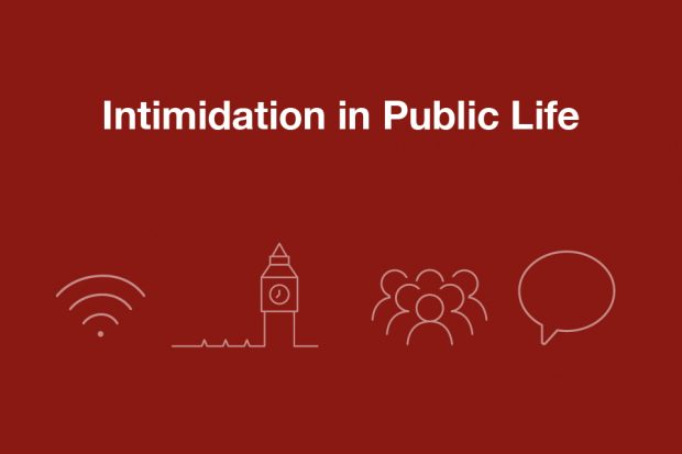 Maroon graphic with symbols of wifi, parliament, a crowd and a speech bubble below the words 'intimidation in public life'