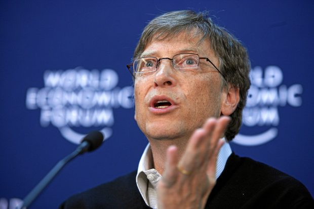 Image of Bill gates addressing the World Economic Forum