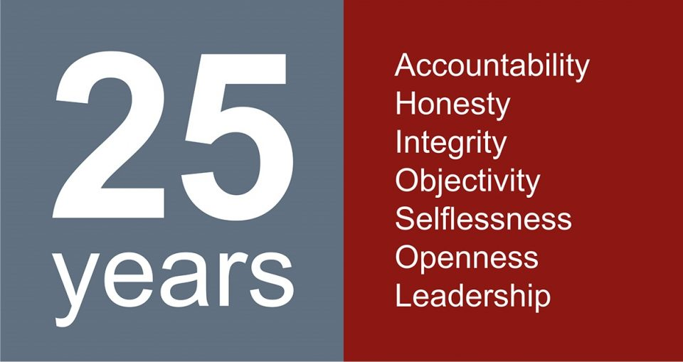 the words '25 years' opposite the words 'accountability honesty integrity objectivity selflessness openness leadership'