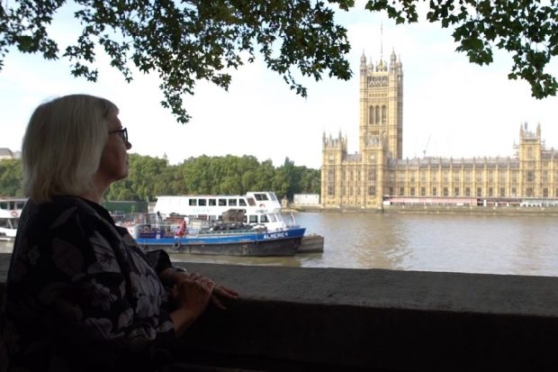 Jane Ramsey viewing Parliament from the south bank of the river Thames