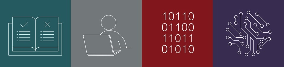 A graphic of a rule book, person behind a laptop, binary code and circuitboard