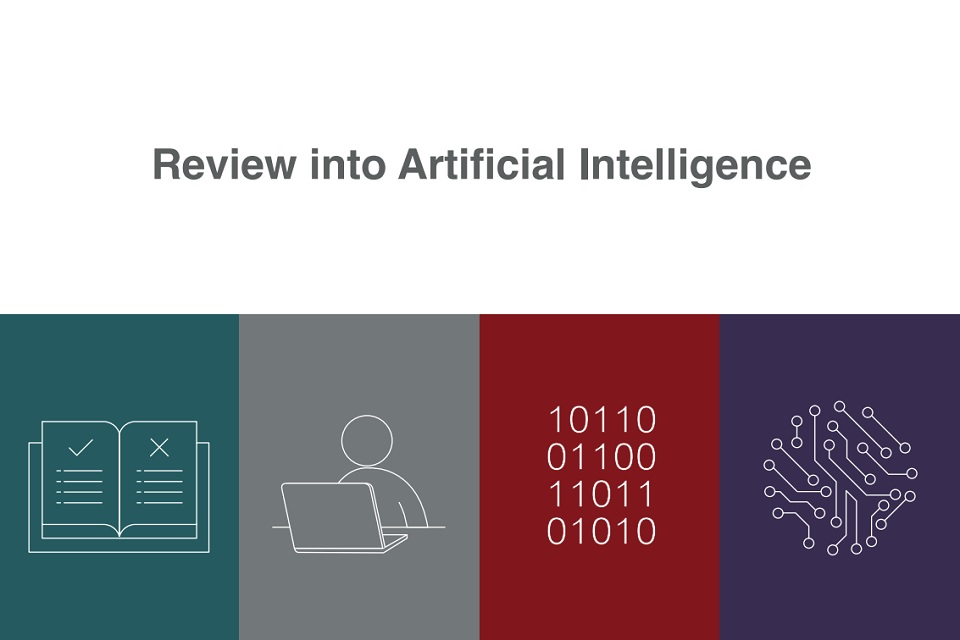 The words 'review into artificial intelligence' above graphics of a rule book, a person sitting behind a laptop, binary code, and a circuitboard