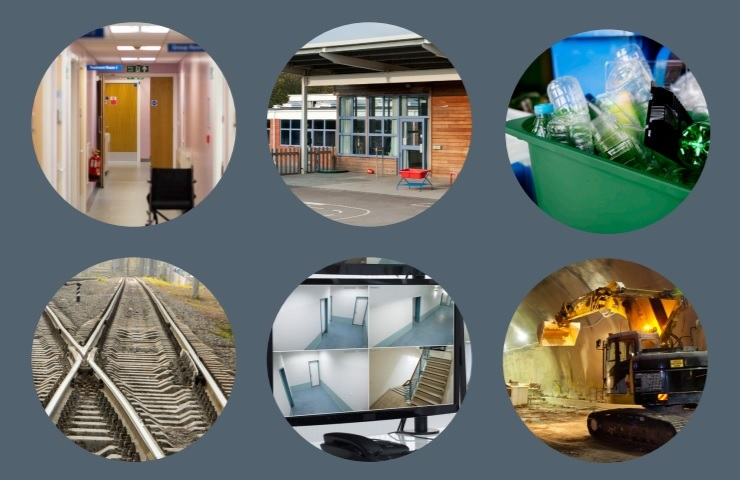 Six cut-out circles showing a hospital ward, school, recycling box, railway track, security camera, and a digger in a tunnel